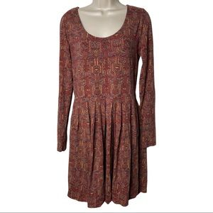 Peruvian Connection mini skater dress long sleeve in brick red colors size M